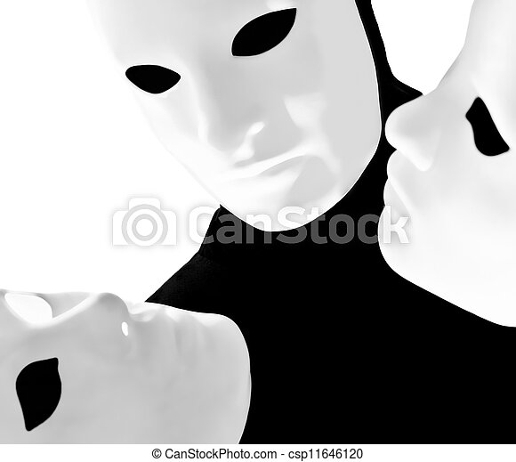 Stock Photo of performer mime with mask - performer man ...