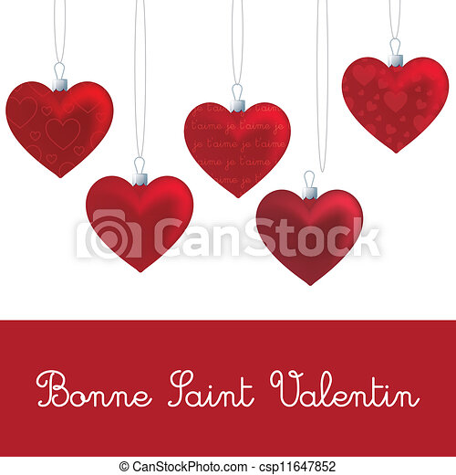 Clipart Vector of Heart Ornament Card French heart ornament – French Valentines Cards