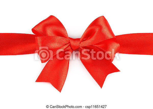 Big red holiday bow on white background - csp11651427