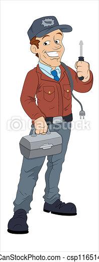 Cartoon Electrician Character - csp11651439