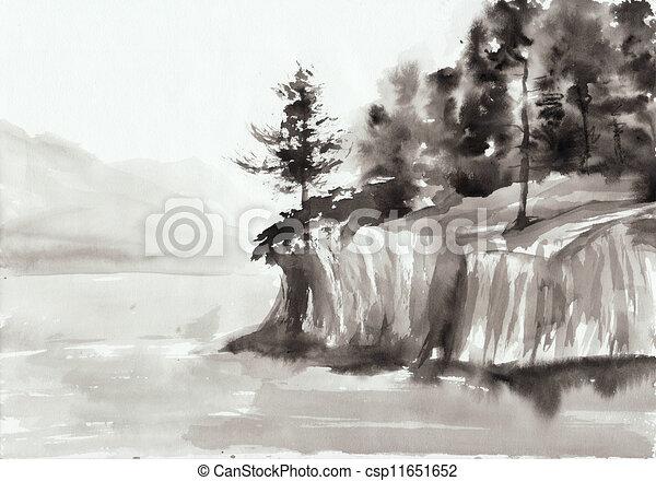 Rocks and lake - csp11651652