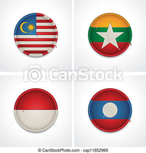 Flags of countries as fabric badges - csp11652969