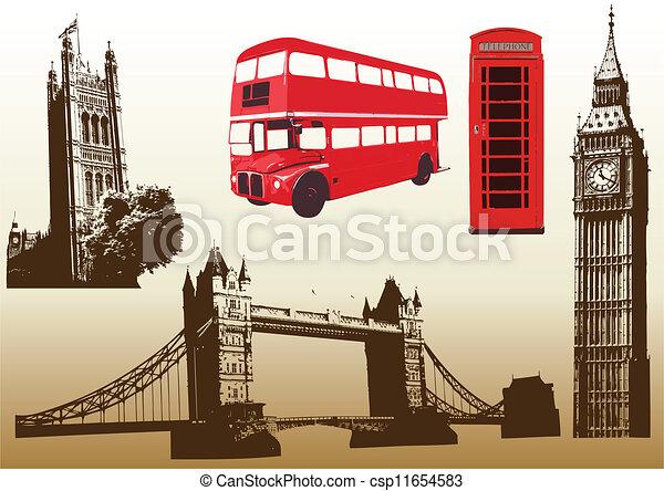 Vector illustration of the various landmarks of London - csp11654583