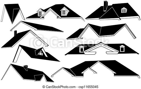 Dessin de toit ensemble csp11655045 recherchez des for Toit de maison dessin