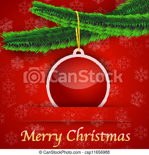 Holiday gift card with Christmas tree and a bauble hanging - csp11656988
