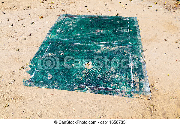 rotten sheet of a   game for table tennis or jumping or gambling on the floor - csp11658735