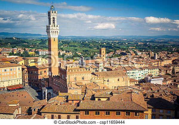 Aerial view over city of Siena - csp11659444