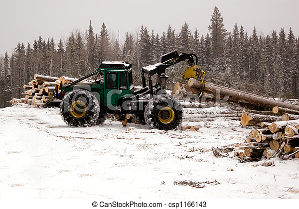 Skidder hauling spruce tree - csp1166143