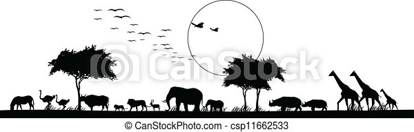 beauty silhouette of safari animal - csp11662533