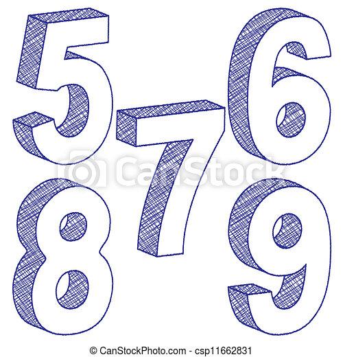 Vecteurs de 3d gratignure nombre depuis 5 9 vect 3d csp11662831 recherchez des - Chiffre en carton 3d ...