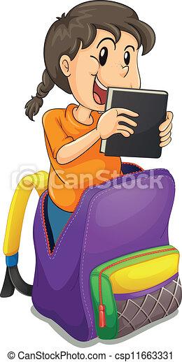 Vectors of a girl in the school bag
