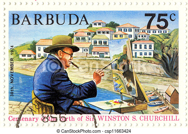 BARBUDA - CIRCA 1974 : great UK politic Winston Churchill painting picture - csp11663424