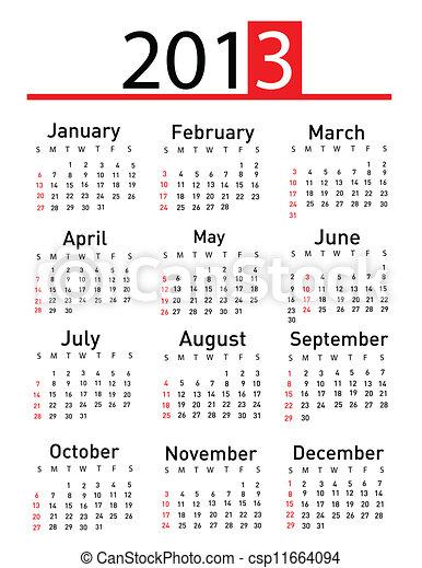 2013 calendar - csp11664094
