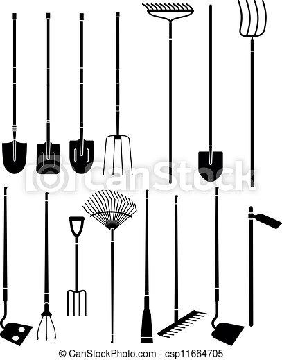 Clipart vecteur de jardinage main outils silhouette for Dessin outils jardinage