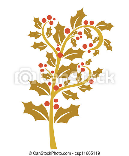 Vector Clip Art of Gold holly berry - Holly berry - gold branch with ...