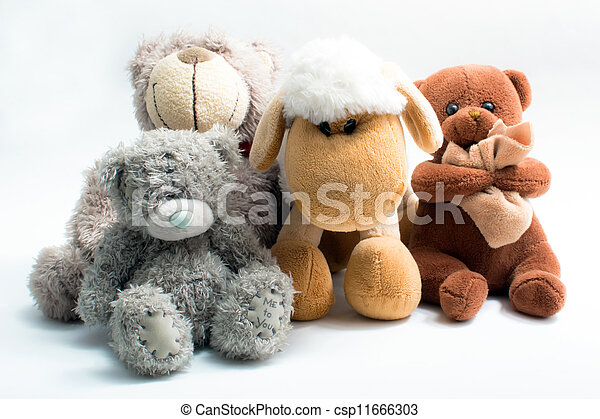 Stuffed animal toys isolated - csp11666303