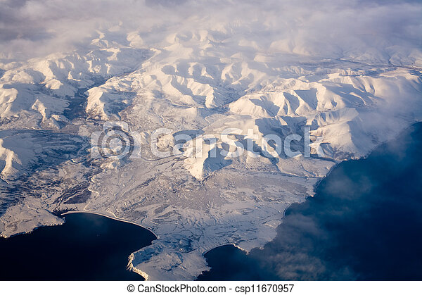 Aerial view of frozen land in the North Pole - csp11670957