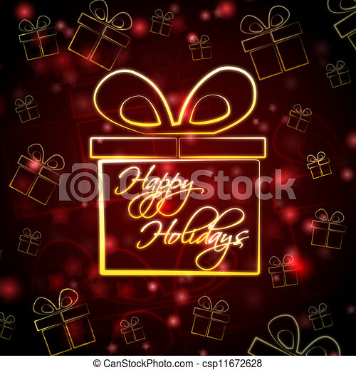 happy holidays in present box - csp11672628