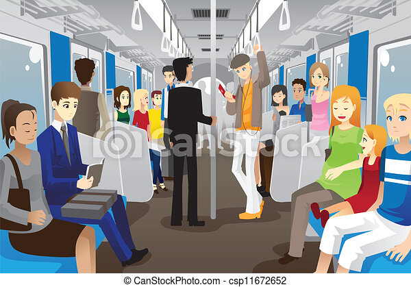 Clipart Vector of People in subway train - A vector ...