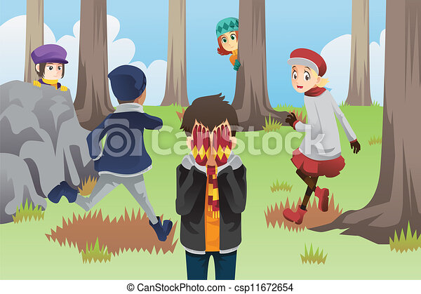Children Playing Hide And Seek Clipart Kids Playing Hide And Seek a