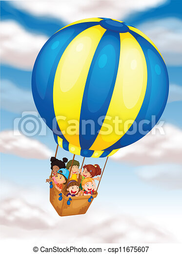 Vector Clipart of kids flying in hot air balloon - illustration of ...