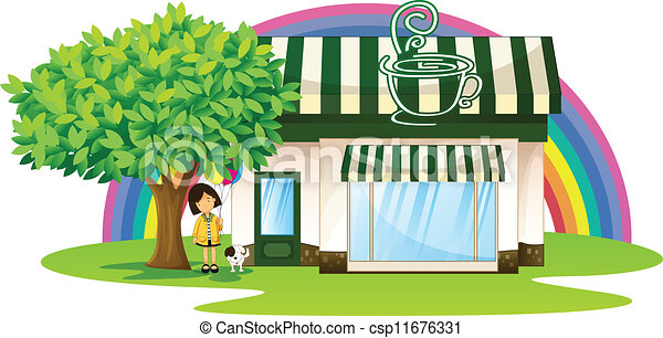 Vectors Of A Girl And Tent Coffee Shop Illustration Of A