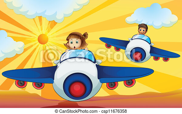 Kids driving aeroplane - csp11676358