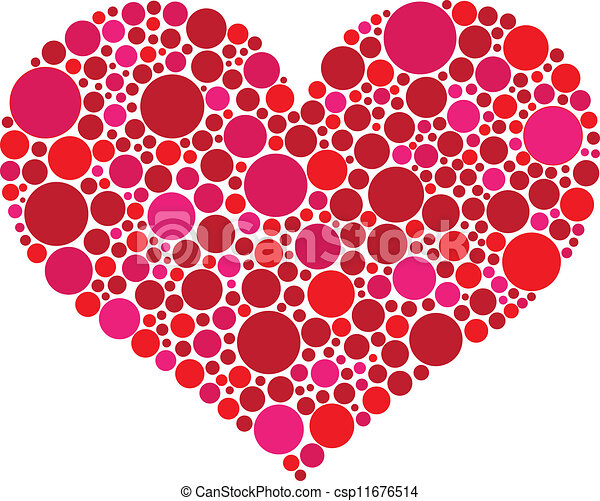 Valentines Day Heart in Pink and Red Dots - csp11676514
