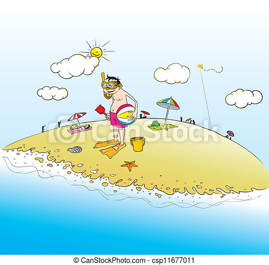 vector clip art of sunny day at the beach cartoon Cartoon Lifeguard Tower Lifeguard Clip Art