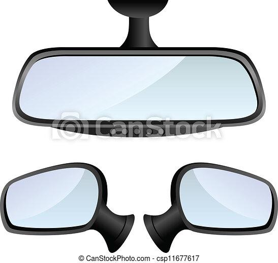Vektor clip art von auto satz spiegel car spiegel for Spiegel cartoon