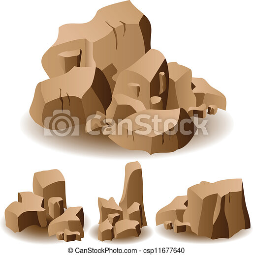 Eps Vector Of Rock And Stone Set Illustration Of