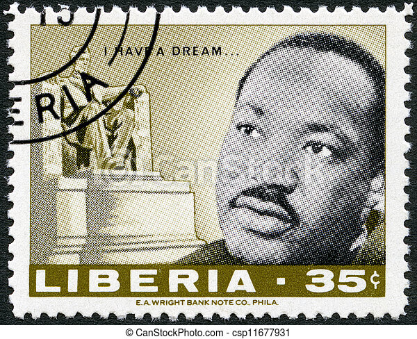 LIBERIA - CIRCA 1968: A stamp printed in Liberia shows Martin Luther King Jr. (1929 - 1968), American civil rights leader, and Lincoln monument by Daniel Chester French, circa 1968  - csp11677931