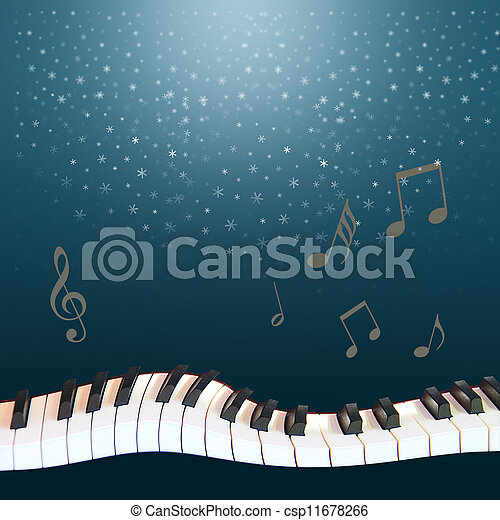 Blu sky, snow, warped piano - csp11678266