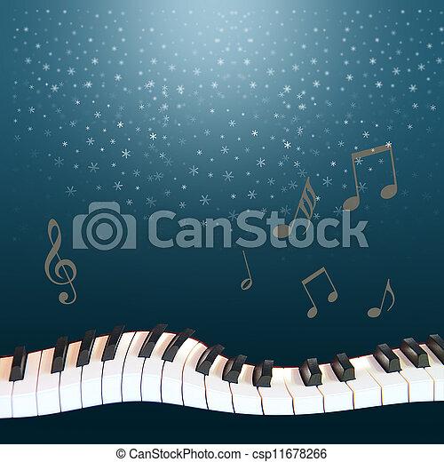 Blu sky,snow,warped piano - csp11678266