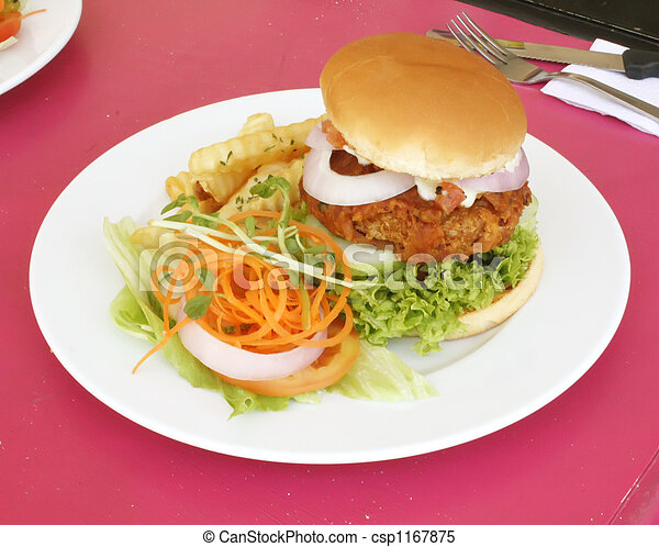 Vegetarian Burger With French Fries - csp1167875