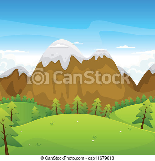 Cartoon Mountains Landscape - csp11679613