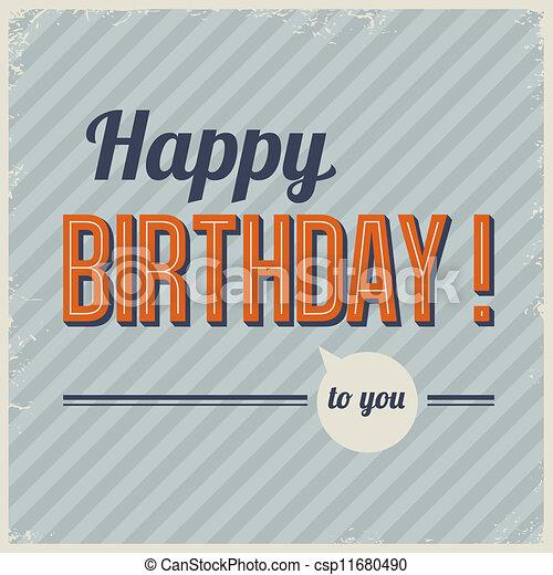 Retro vintage birthday card vector - csp11680490