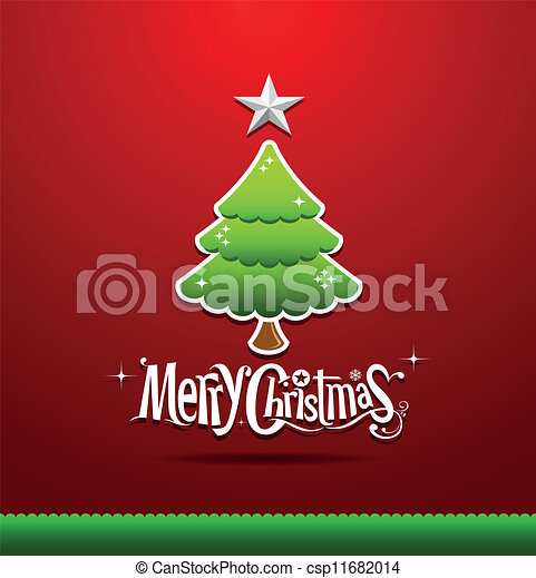 Merry Christmas green tree - csp11682014
