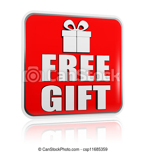 free gift banner with present box symbol - csp11685359