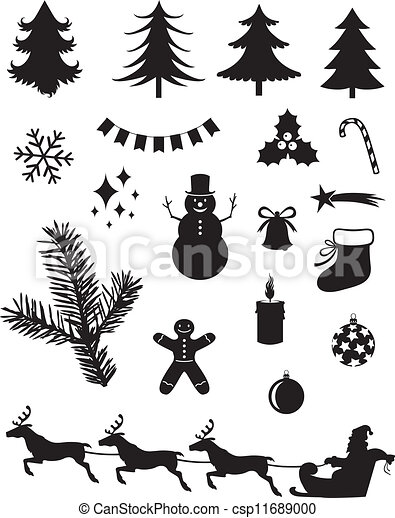 Vector Clipart of Christmas silhouettes - Silhouette set of ...