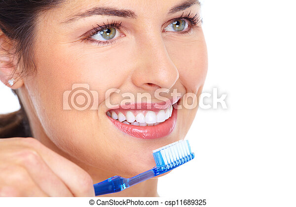 Happy woman with a toothbrush. Dental care. - csp11689325