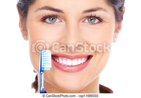 spazzolino, dentale, donna, cura, Felice - csp11689333