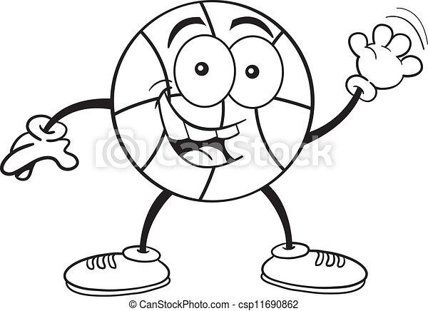 Clip Art Vector of Cartoon Basketball Waving (Black an - Black and ...