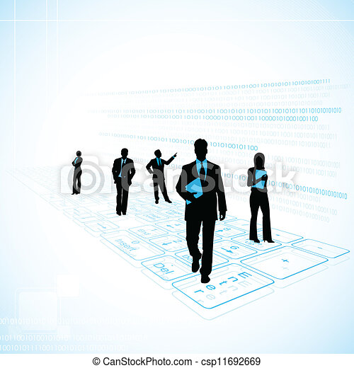 Business People on Technology Background - csp11692669