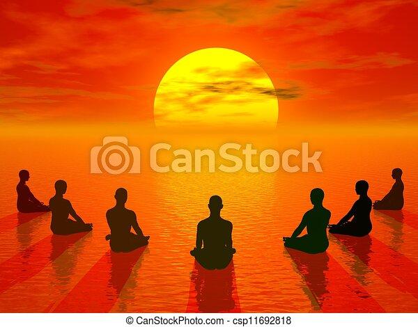 Sunset meditation - 3D render - csp11692818
