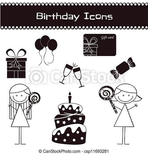 Birthday icons - csp11693281