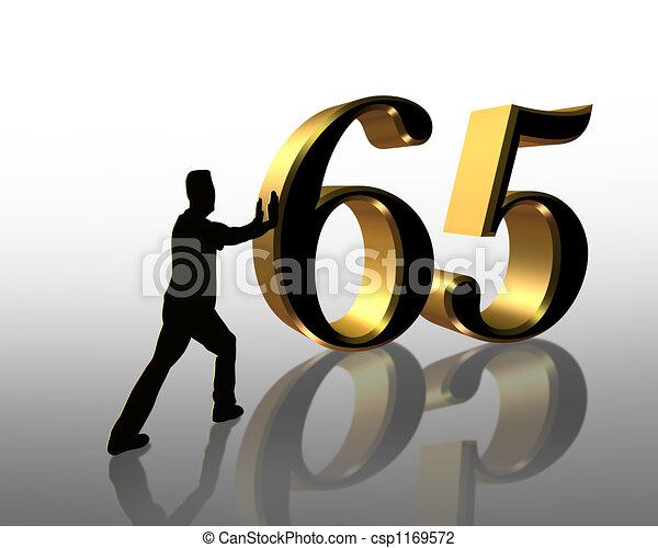 65th, compleanno, invito,  3D - csp1169572