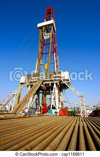 Drilling rig with drill pipe - csp1169611