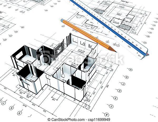 Stock photo of home plot plan 3d home plot plan with for Find plot plan online