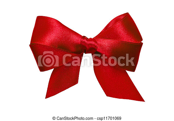 red bow with tails from ribbon - csp11701069